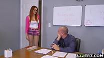 Busty redhead Skyla Novea seduced her hot prof - download porn videos
