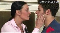 Nerdy teen April Oneil and busty stepmom Vanilla Deville threeway