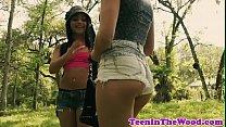 Petite teen enjoys roughsex with a voyeur