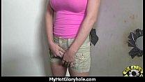 Natural cute black teen tries out gloryhole 15