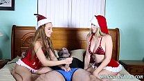 teens kimber lee and ashlynn taylor give christmas handjob