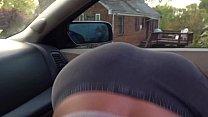 Black slut sucking dick in car with ass towards...