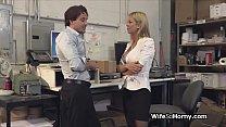 Bigtit MILF boss in stockings blows new employee