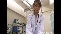 Horny nurse Ebihara Arisa gives her male patient an unusual sexual exam