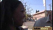 Ebony babe sucks too many white cocks 11