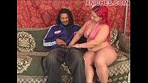 Redhead rides ebony cock thumb
