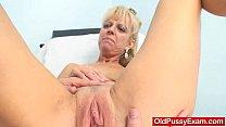 Blond-haired grandma Anezka muff speculum explo...