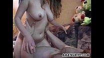 Busty amateur teen girlfriend sucks and fucks with cum