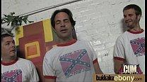 Ebony babe sucks too many white cocks 2