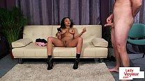 Bigtitted ebony domina helps naked sub