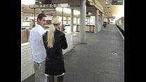 Blowjob in public train