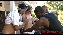 Hot teen babe Sasha Swift interracial gangbang ...
