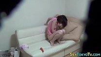 Horny petite asian rubs