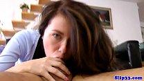 Deepthroating euro schoolgirl gets pounded
