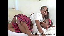 Stunning identical lesbian twins, sexy ebony Fr...