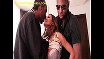Brunette Stripped By two black Men