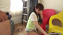 Petite Japanese chick Mei Wakana swallows small hairy fuck stick)