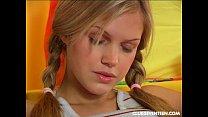 Sweet blonde teen girl finger cooshie
