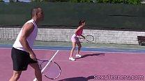 Fourway teens pussyfucked on tennis court