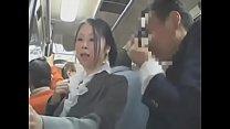 Asian woman rides the train