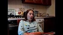 Teenie fingers to orgasm in kitchen