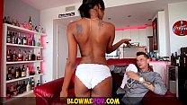 Blow Me POV - Petite Ebony Babe Makes Sloppy In...