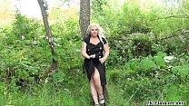 Chubby goth exhibitionist Eden in outdoor publi...