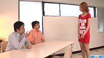 Kanako Kimura provides blowjob on two big cocks