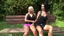 Two German Lesbian Teens Lick and Finger outsid...