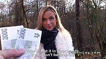 Hot blonde sucks and fucks pov in public