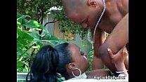 Naughty ebony whore loves outdoor sex