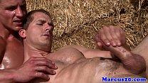 Gay muscular farmboys sucking dick outdoors