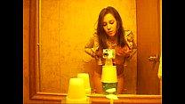 girl video taping herself in bathroom