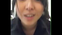 asian girl flashing at work