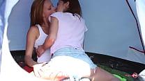 camping babes kissing babes