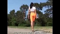 xy girl in orange spandex shorts