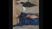 blue satin robe   blue panties