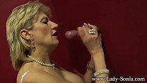 Busty British mature Lady Sonia visits a gloryhole Thumbnail