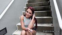 Redhead cutie sucks and fucks in public
