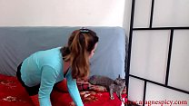 Hairy Aragne getting naked and touching pussy