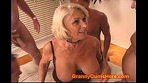 Granny gets a GANG BANG and Cum Bath)