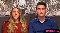 Amateur blonde and her boyfriend tries threesome sex