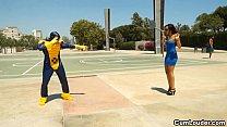 Latina Sasha Jones Riding in a Cyclops XXX Parody