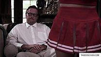 Young teen cheerleader teasing old man