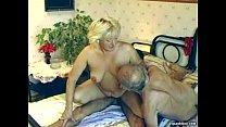 Hairy granny enjoys threesome