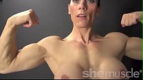 Naked Female Bodybuilder Shows Off Big Biceps a...