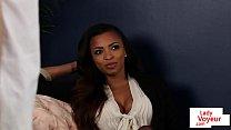 Ebony voyeur beauty helping submissive guy
