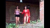 Outdoor lesbian babes having fun