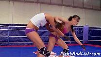 Wrestling lesbians orally pleasured