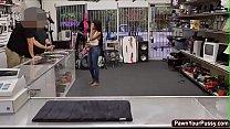Ebony babe gets banged in the pawnshop